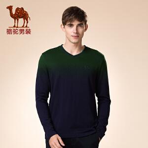骆驼男装 新品秋款青年V领撞色活力休闲长袖打底衫T恤男士