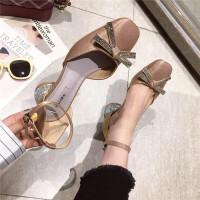 高跟鞋女2019新款时尚方头水钻蝴蝶结一字扣带女鞋绸缎面水钻粗跟