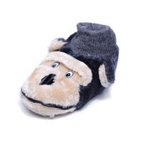 原单冬儿童棉拖鞋包跟防滑保暖软底猴子卧室内居家地板鞋 浅棕色