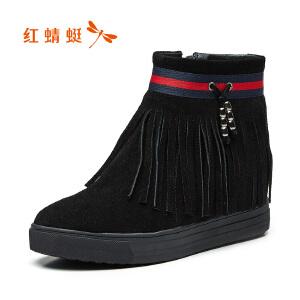 红蜻蜓女鞋秋冬款时尚休闲流苏短靴舒适百搭坡跟短筒女靴子WNC7408