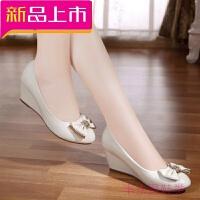 坡跟单鞋女秋季新款女鞋浅口圆头韩版高跟女士皮鞋四季工作鞋 米白色 跟高5厘米