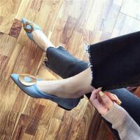 尖头单鞋女平底2019春季新款韩版金属扣饰浅口软底休闲单鞋女鞋