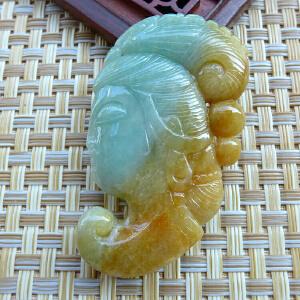 缅甸天然翡翠精雕仙女挂件 双彩立体双面雕 配证书HOH-FHO-EDD