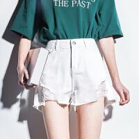 【2件2.5折价59元】唐狮新款高腰牛仔短裤女夏季韩版显瘦破洞牛仔短裤女白色宽松