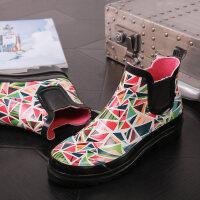 雨鞋女时尚款外穿女士水鞋水胶鞋女式滑可爱套鞋短筒雨靴 水立方雨鞋女
