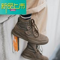 新品上市新款潮牌复古马丁靴男冬季系带高帮鞋青年潮流靴子工装男鞋