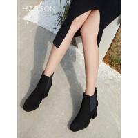 哈森2019冬季新款粗跟圆头冬靴女切尔西靴 英伦风水钻短靴HA92411