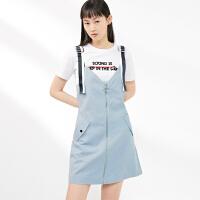 无袖背带连衣裙女2019夏季新款连身V领浅蓝色短裙子女太平鸟女装