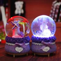 紫色薰衣草飘雪水晶球八音音乐盒装饰摆件儿童礼物