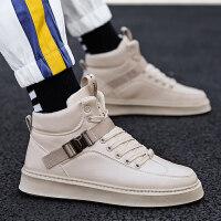 小白男鞋子高邦帆布鞋秋季高帮板鞋韩版潮流百搭男士运动休闲潮鞋