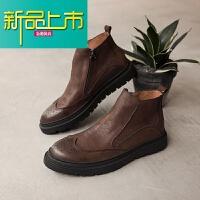 新品上市韩版靴男短靴真皮厚底男靴子高帮皮鞋复古英伦马丁靴
