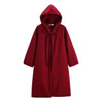 新年特惠赫本风秋冬装韩版中长款长袖连帽斗篷毛呢外套女潮 圣诞红