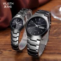 WLISTH手表黑色钨钢防水钢带情侣手表时尚学生石英表