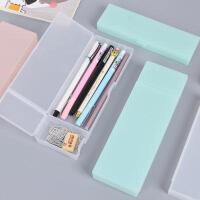 日式简约风格笔盒半透明磨砂收纳笔袋文具盒 多功能创意铅笔盒文具盒创意学生文具