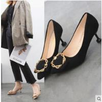 社会女鞋子抖音同款韩版百搭裸色高跟鞋女单鞋细跟尖头猫跟鞋