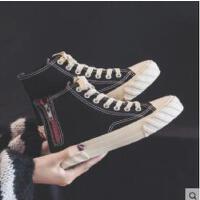 新款高帮帆布鞋女鞋韩版百搭学生原宿ulzzang布鞋板鞋潮