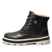 短靴男皮靴男加绒保暖冬季新款户外保暖马丁靴加棉工装靴加绒军靴复古皮靴子潮休闲男鞋A8222SAG