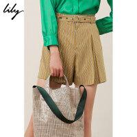 Lily春新款女装商务气质条纹通勤腰带西装短裤119130C5201
