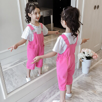 女童套装夏装女孩潮衣儿童背带裤短袖两件套