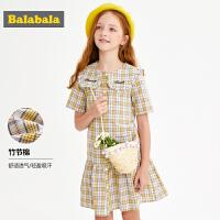 巴拉巴拉女童�B衣裙夏�b2019新款童�b中大童�和�裙子格�y�~尾裙女