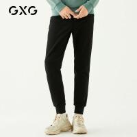 GXG男装 秋季男士时尚气质学生流行刺绣韩版束腿裤黑色休闲裤男