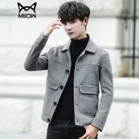 秋冬季新款风衣外套男士短款修身英伦风潮流休闲羊毛呢子青年夹克