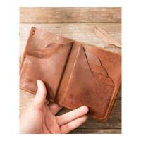 钱包男士短款复古纯皮钱夹头层竖款皮夹潮 棕色 原创散点纹