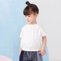 【秒杀价:108元】马拉丁童装女小童T恤2020夏装新款绣花立体设计感白色短袖