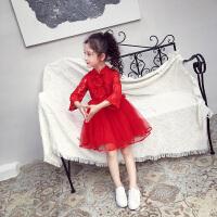女童连衣裙春装儿童镂空红色蕾丝网纱公主裙