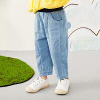 【秒杀价:153元】马拉丁童装女小童裤子春装2020年新款可爱萝卜裤儿童牛仔裤