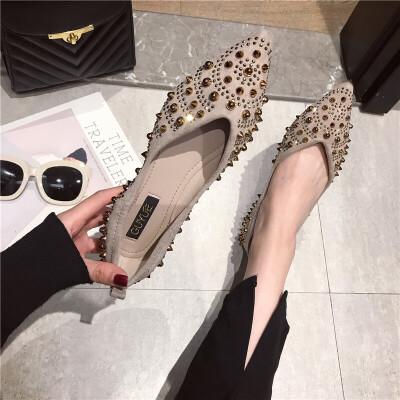 单鞋女尖头平底鞋子2019春季新款绒面铆钉水钻女士鞋百搭单鞋女鞋