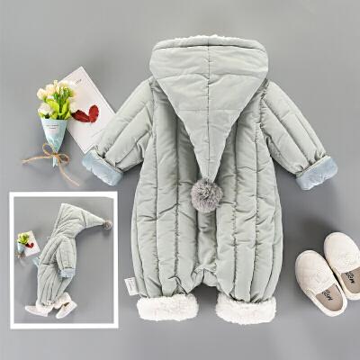 男女宝宝冬装套装0一1岁加厚秋季外出抱衣新生婴儿加绒连体衣