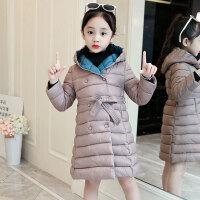 儿童棉服 女童连帽中长款棉衣2019新款冬装儿童韩版双色收腰外套洋气加厚棉袄