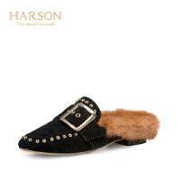 Harson/哈森 夏纯色羊反绒革外穿休闲时尚毛绒凉拖女HM86410