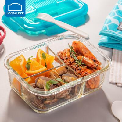 乐扣乐扣微波炉饭盒玻璃三分隔便当水果保鲜盒专用上班族分格内置叉勺 分隔玻璃便携式餐具 格拉斯系列