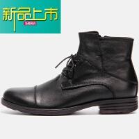 新品上市英伦复古植鞣真皮商务皮靴阿美咔叽美式手工工靴马丁靴男 黑色 现货