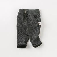 [领��400减80]【加绒】davebella戴维贝拉2019冬新款男童保暖格子长裤DB11814