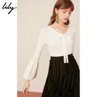 【25折到手价:137.25元】 Lily春新款女装喇叭袖V领系带白色套头毛针织衫119110B8252