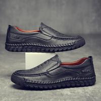 老北京男休闲鞋爸爸中年仿皮鞋软底懒人鞋一脚蹬男士鞋子