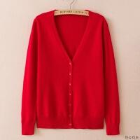 羊绒开衫女短款领薄款毛衣外套修身简约大码长袖纯色针织衫