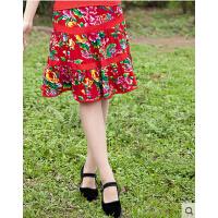 户外运动服 广场舞裙子短裙新款大摆裙  服装套装大红东北花布  跳舞半身裙