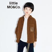littlemoco童装2019新款秋男童衬衫灯芯绒长袖衬衫休闲男童衬衣