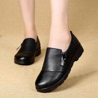 妈妈鞋单鞋秋季中年妇女鞋平底休闲软底中老年女鞋老鞋女奶奶 黑色
