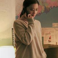 新颖潮牌 在远方你是我的答案梅婷刘爱莲同款衣服女韩版秋季新款圆领纯色宽松毛衣针织衫 灰色