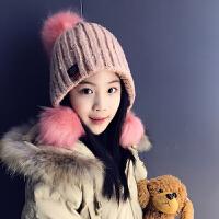 秋冬季儿童保暖毛线帽子女童中大童韩版加绒加厚可爱护耳套头帽萌