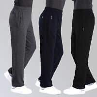 中年运动裤男加绒加厚宽松直筒休闲裤大码中老年人爸爸男士长裤子
