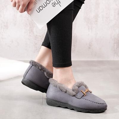 冬季老北京布鞋女棉鞋韩版加绒保暖平底女鞋妈妈鞋休闲懒人豆豆鞋