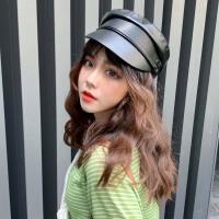 PU皮质贝雷帽女夏季薄款英伦复古秋冬韩版日系网红款八角帽子黑色