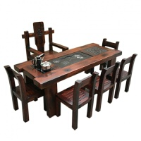 新中式古典茶几 办公室书房实木茶桌椅组合实木家具中式阳台户外功夫茶几茶台泡茶桌椅组合 2.+4+ 组装
