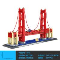 高难度拼装积木 儿童塑料拼插玩具建筑模型双子桥